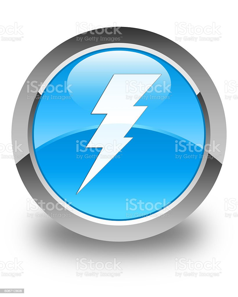 Electricity icon glossy cyan blue round button stock photo