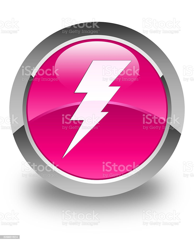 Electricity icon glossy pink round button stock photo