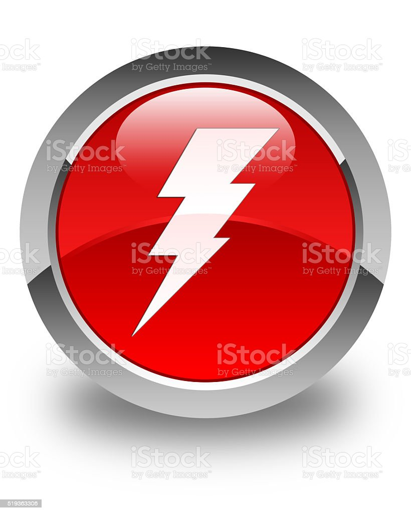 Electricity icon glossy red round button stock photo
