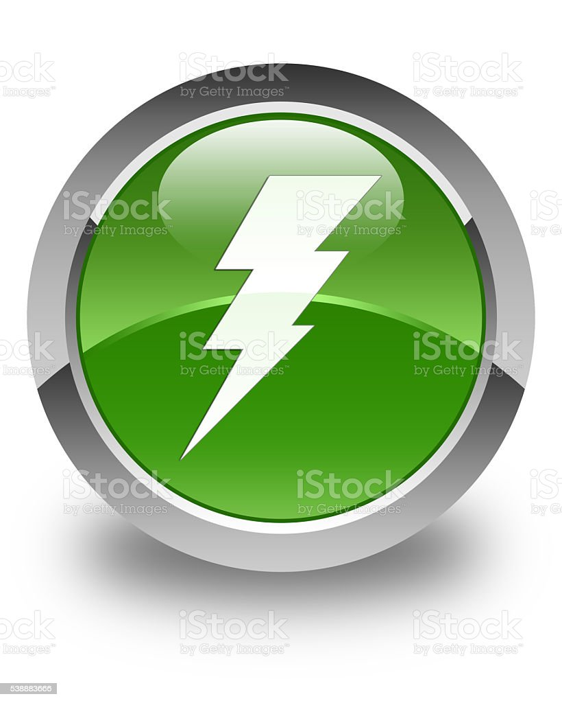 Electricity icon glossy soft green round button stock photo
