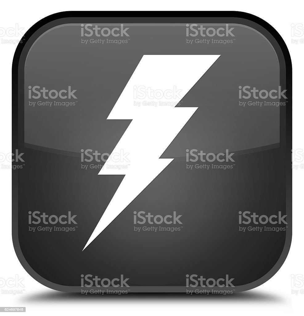 Electricity icon special black square button stock photo