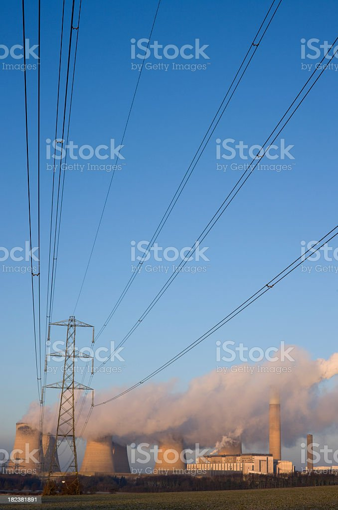 Electricity lines and power station. royalty-free stock photo