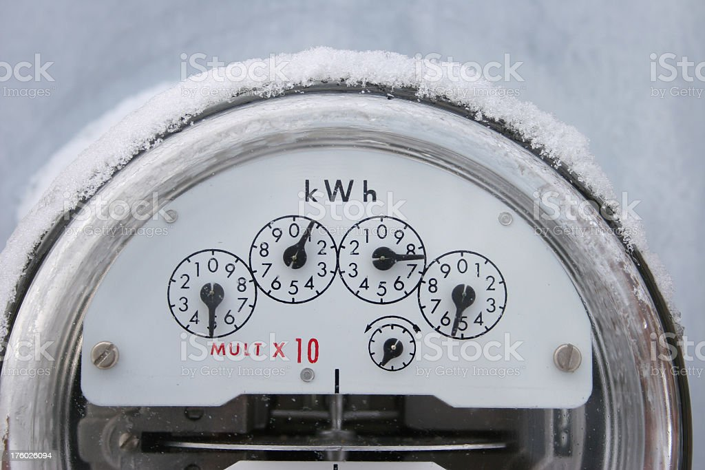 Electricity Meter and snow stock photo