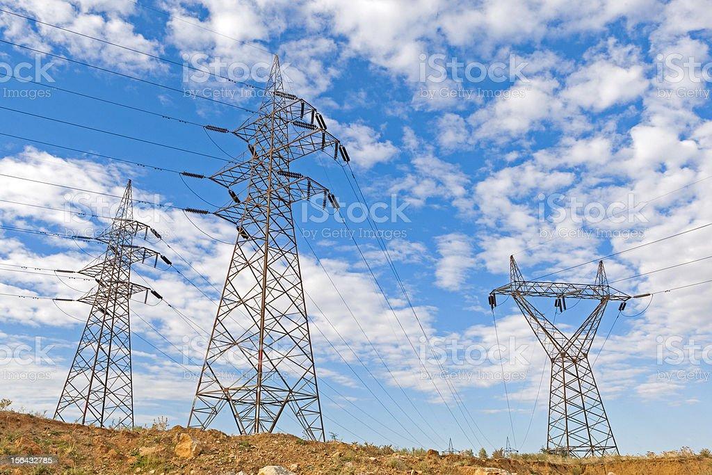 Electricity pillars royalty-free stock photo