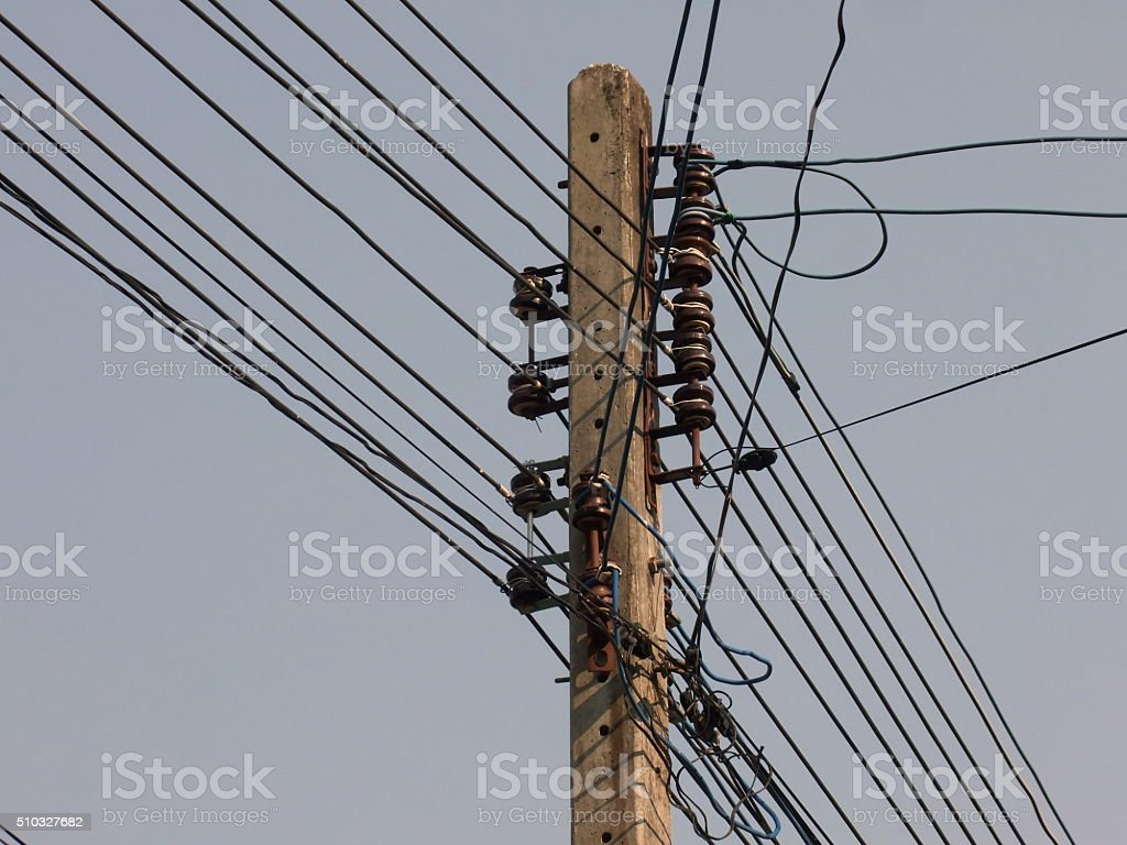 Electricity pole background stock photo