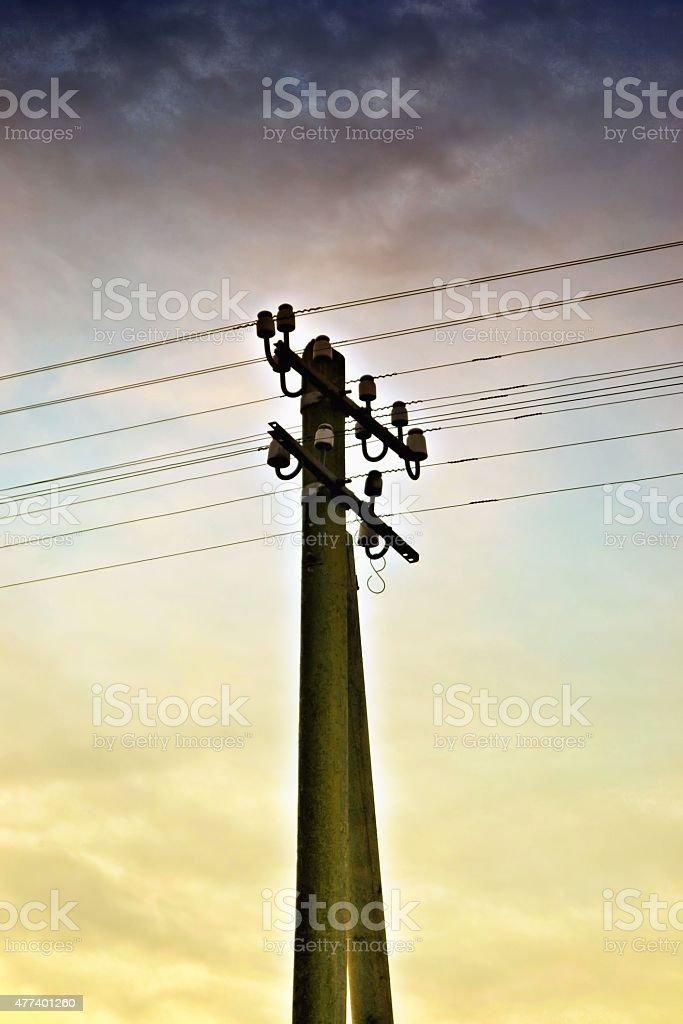electricity pole stock photo