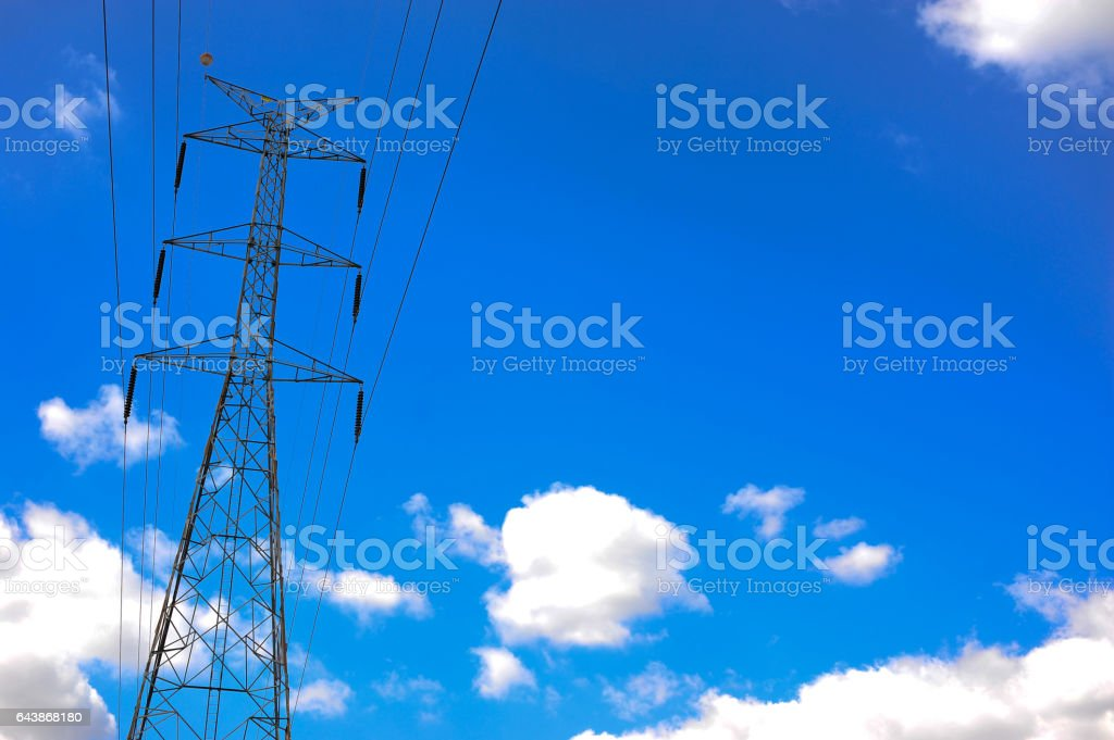 electricity post on blue sky cloud background stock photo