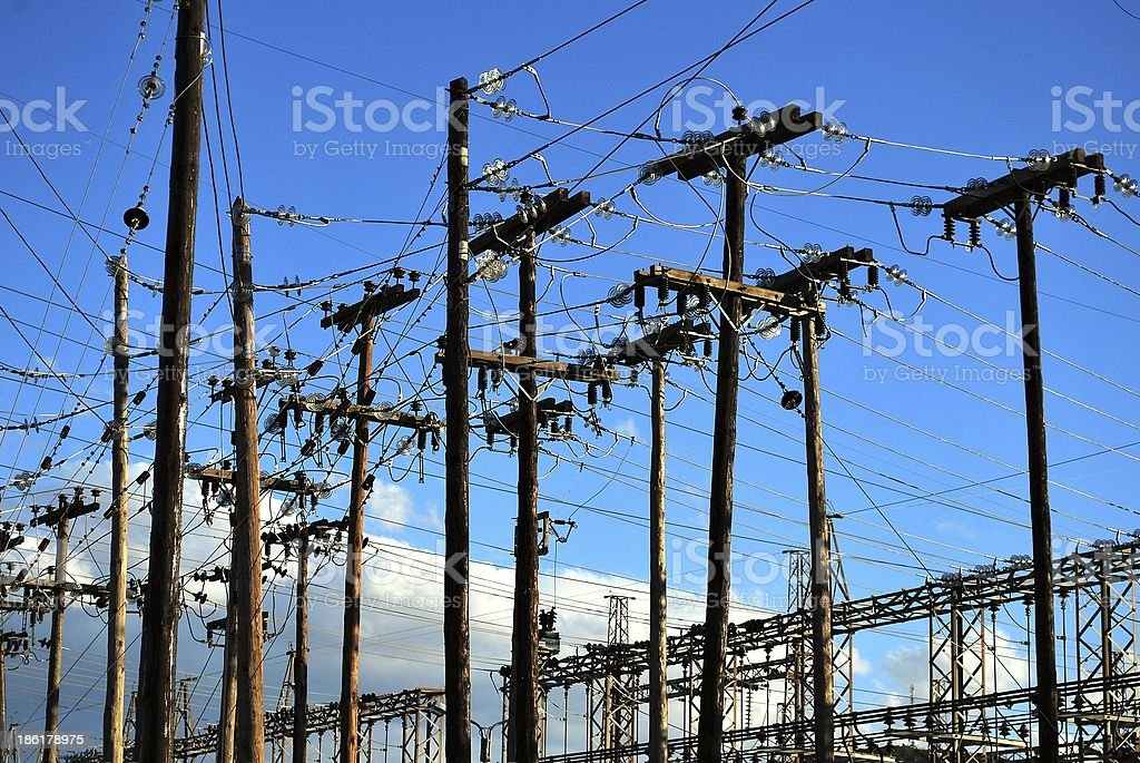 Electricity posts royalty-free stock photo