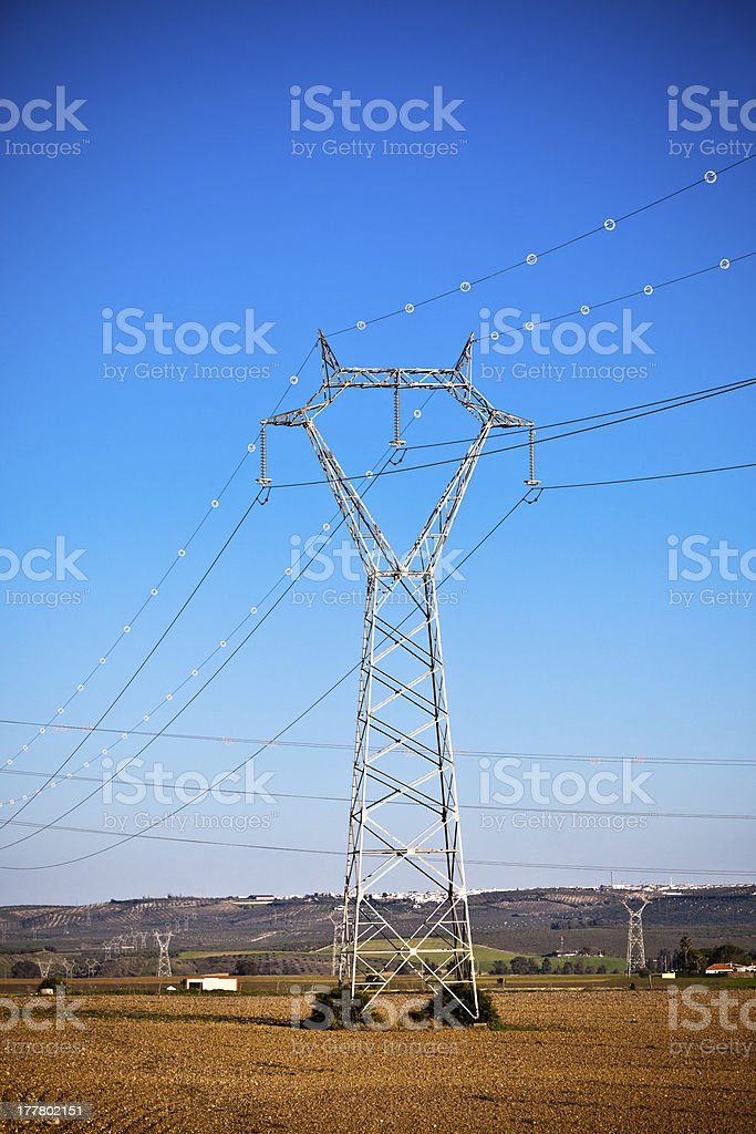 Electricity Power Pylons at a Beautiful Countryside royalty-free stock photo