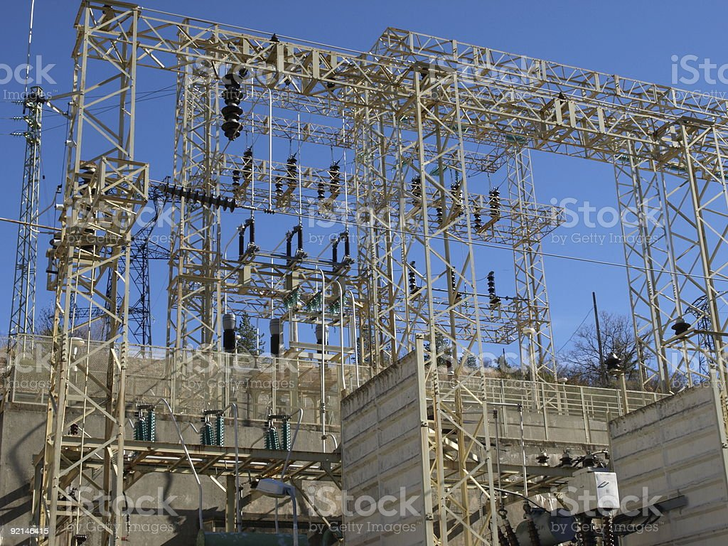 electricity power station in front of blue sky royalty-free stock photo