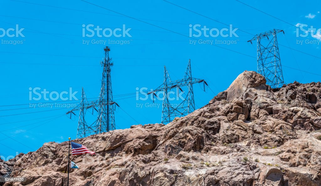 Electricity production in the USA. Hoover Dam in the Arizona Desert stock photo