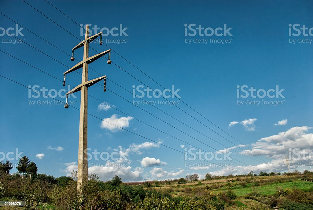 Electricity pylon and nature stock photo
