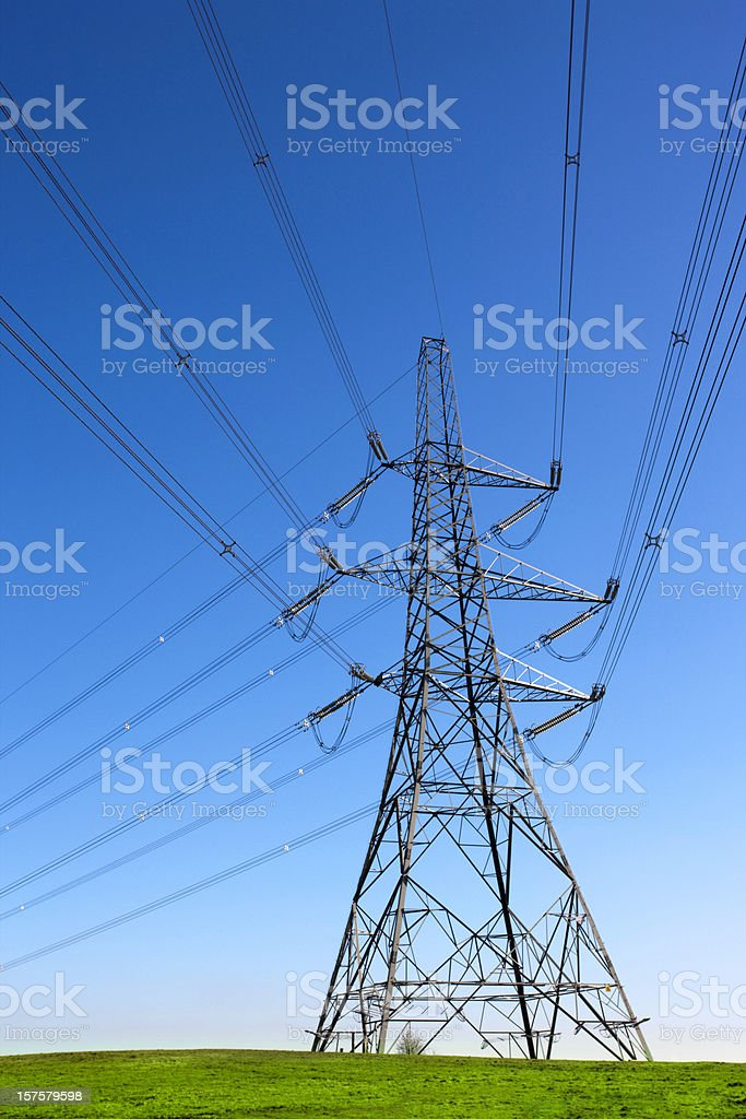Electricity Pylon and power lines royalty-free stock photo