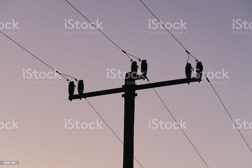 Strommast in der Abendd?mmerung stock photo
