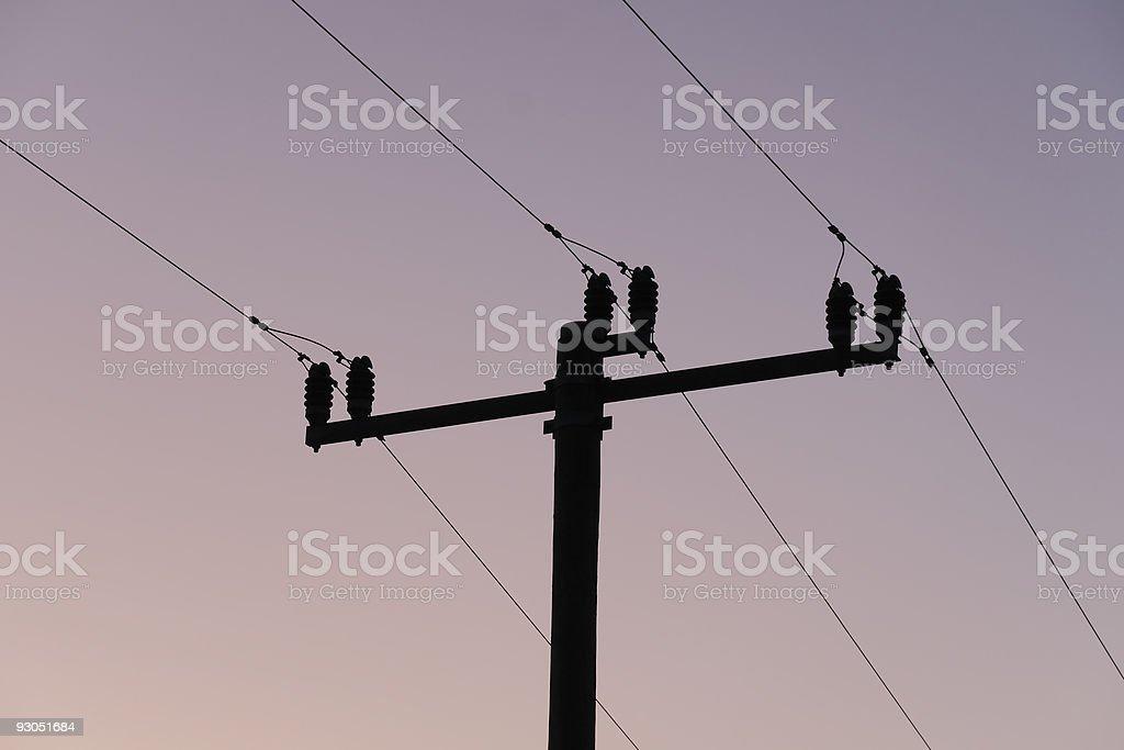 Strommast in der Abendd?mmerung stock photo