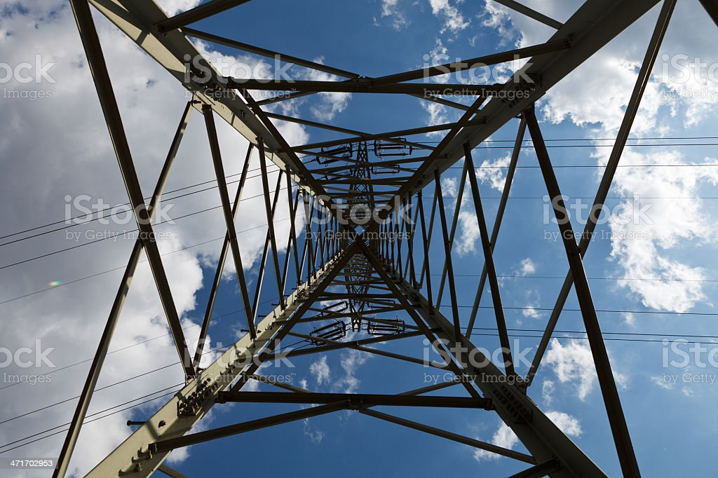 Electricity Pylon from below royalty-free stock photo