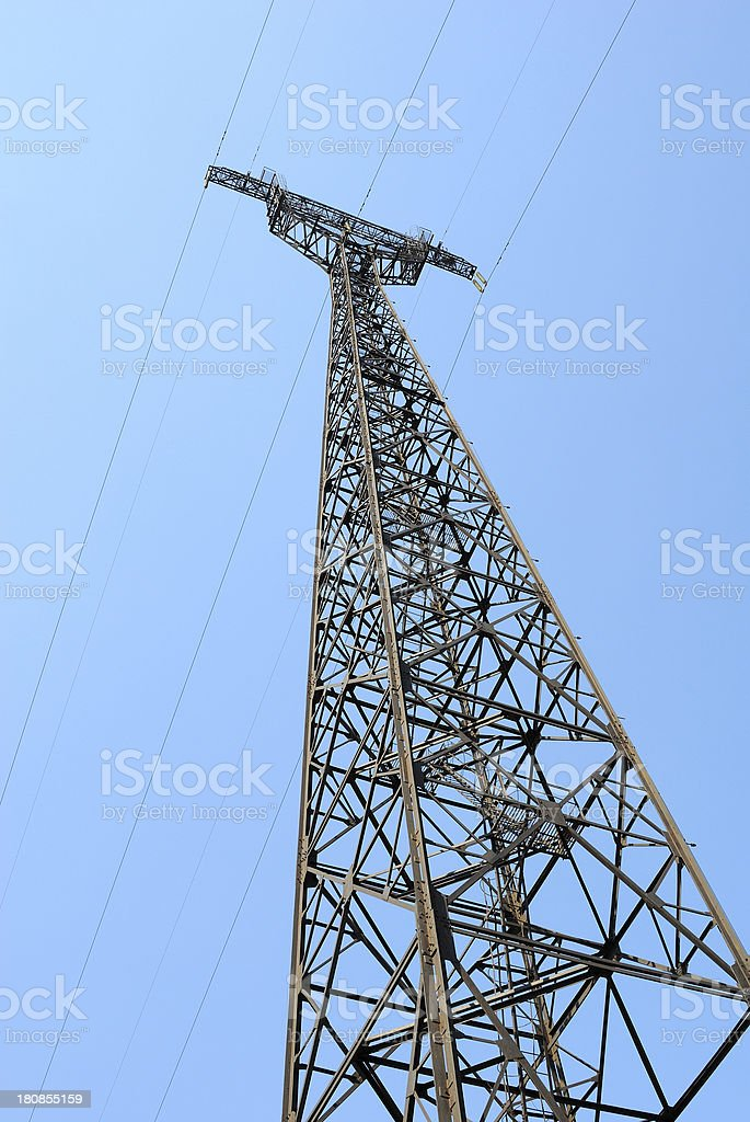 Electricity Pylon in the blue sky royalty-free stock photo