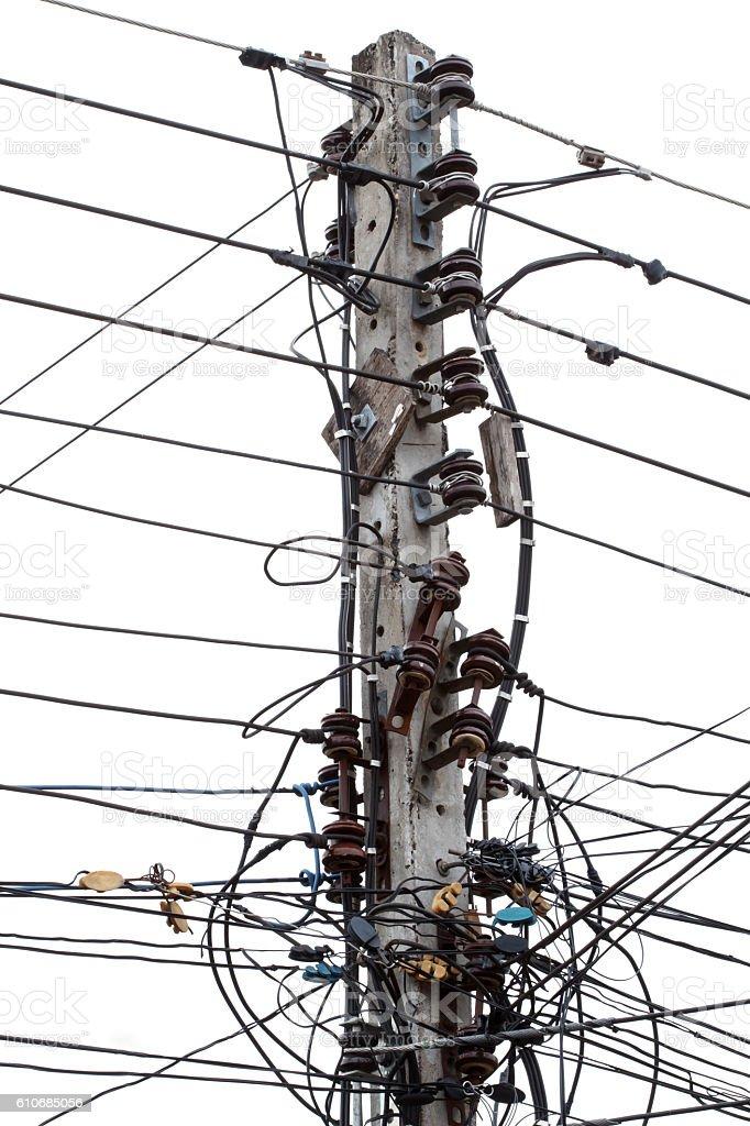 Electricity pylon isolated on white background. stock photo