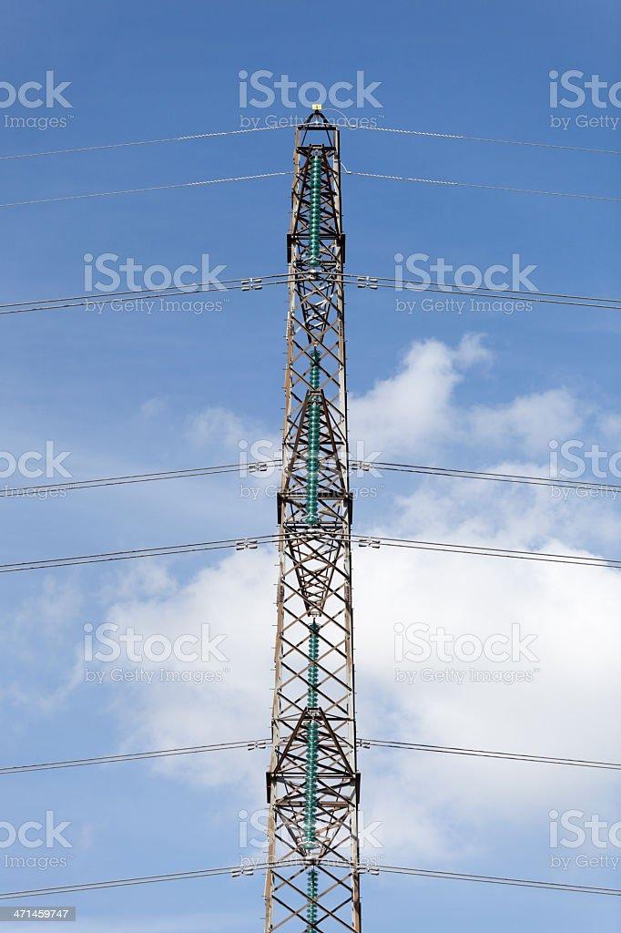 Electricity pylon on a clear blue sky. royalty-free stock photo