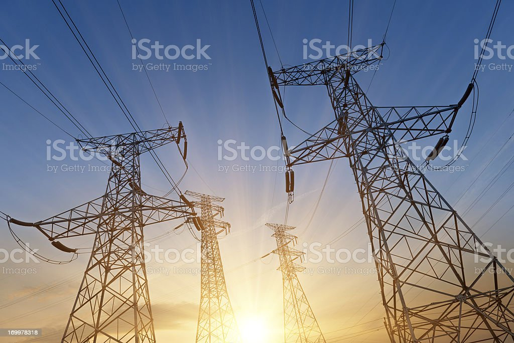 Electricity Pylon power stock photo