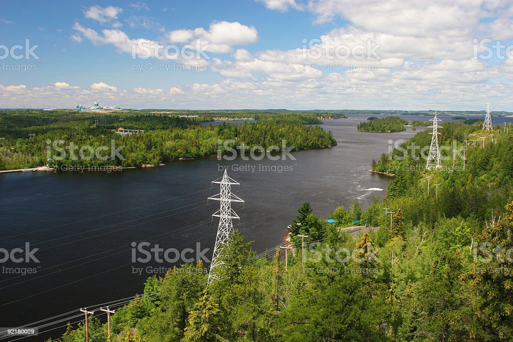 Electricity Pylons and Lines along the Saguenay River stock photo