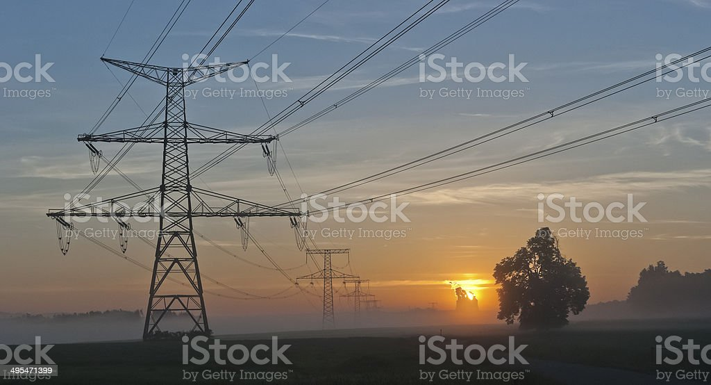Electricity Pylons and nuclear power plant Temelin - Czech Republic royalty-free stock photo