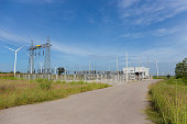 electricity pylons and power plant or station