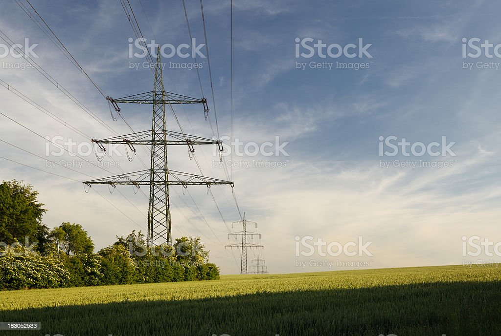 Electricity Pylons In Green Landscape royalty-free stock photo