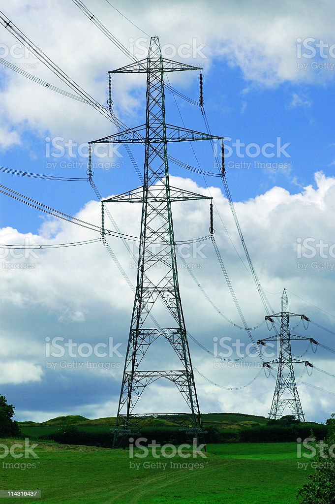 Electricity Pylons in the Countryside royalty-free stock photo