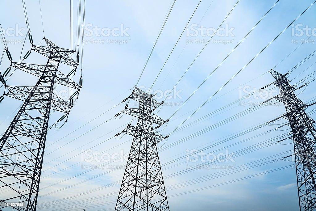Electricity pylons stock photo