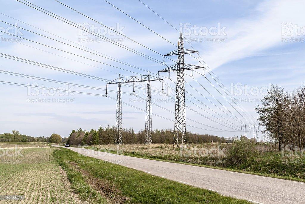 Electricidad Pylons foto de stock libre de derechos