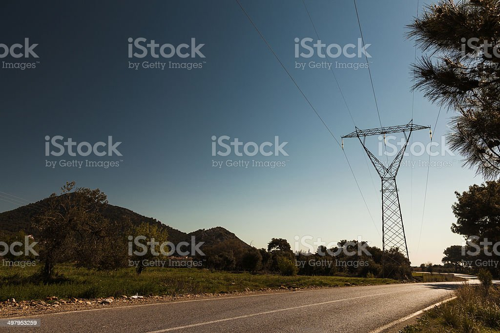 Electricity Substation on Road stock photo