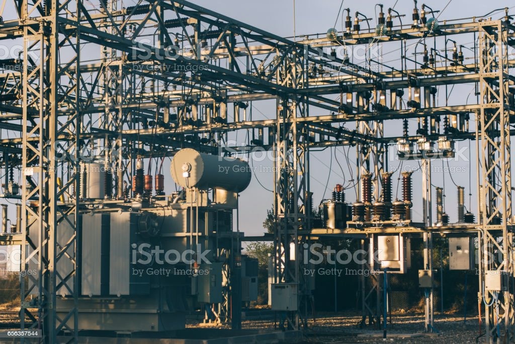 Electricity substation stock photo