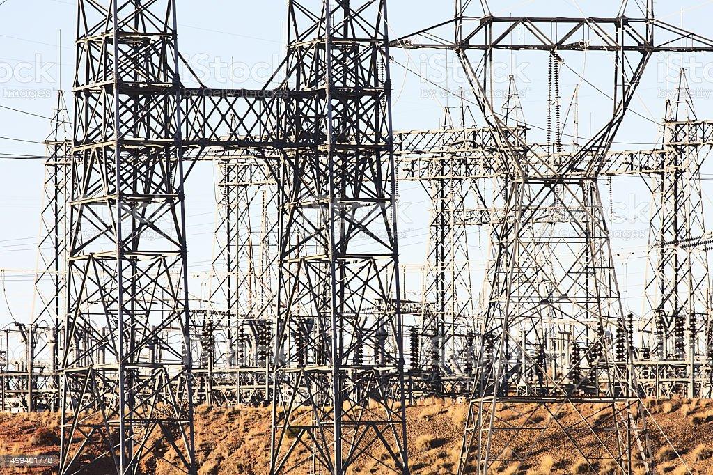 Electricity Substation Power Pylons stock photo