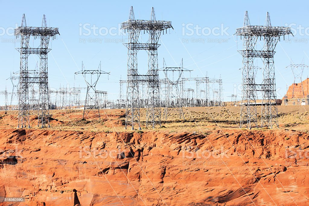 Electricity Substation Power Pylons stock photo