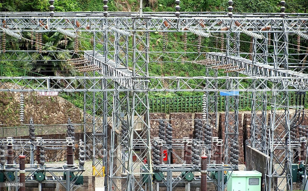 Electricity Substation with Large Ceramic Insulators stock photo