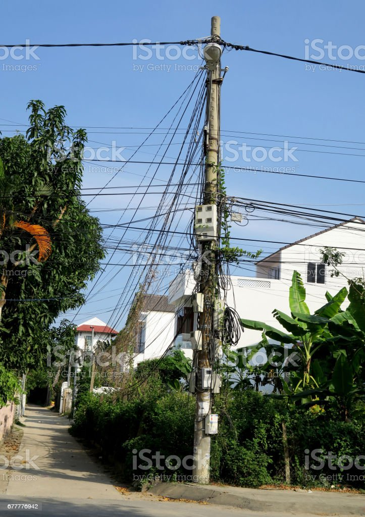 Electricity supply, Hoi An, Vietnam stock photo