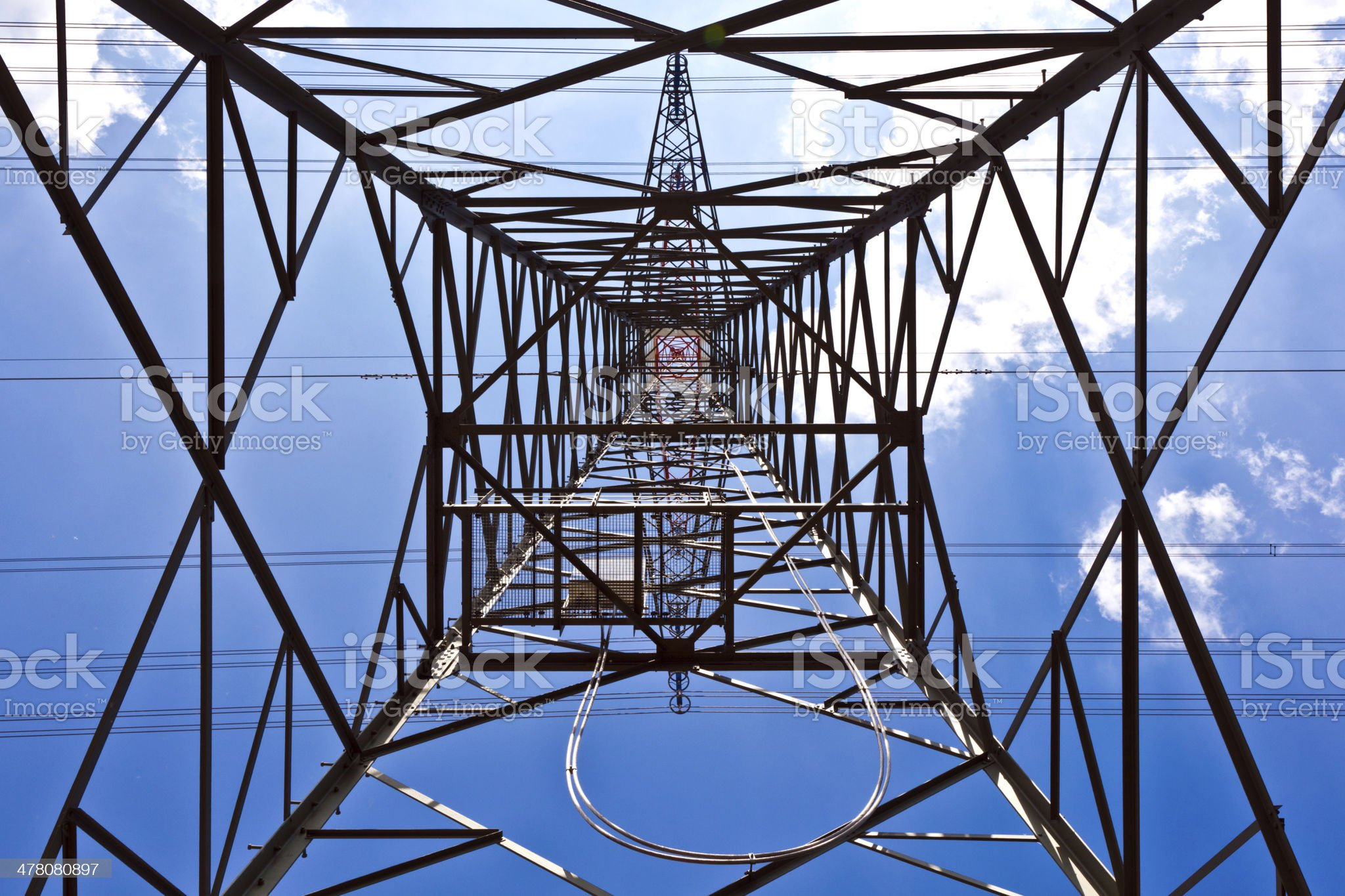 electricity tower with blue sky royalty-free stock photo