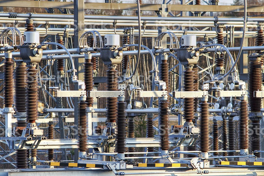 Electricity transformer station royalty-free stock photo