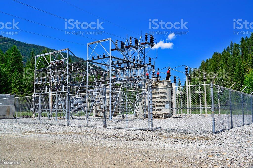 Electricity Transformer station stock photo