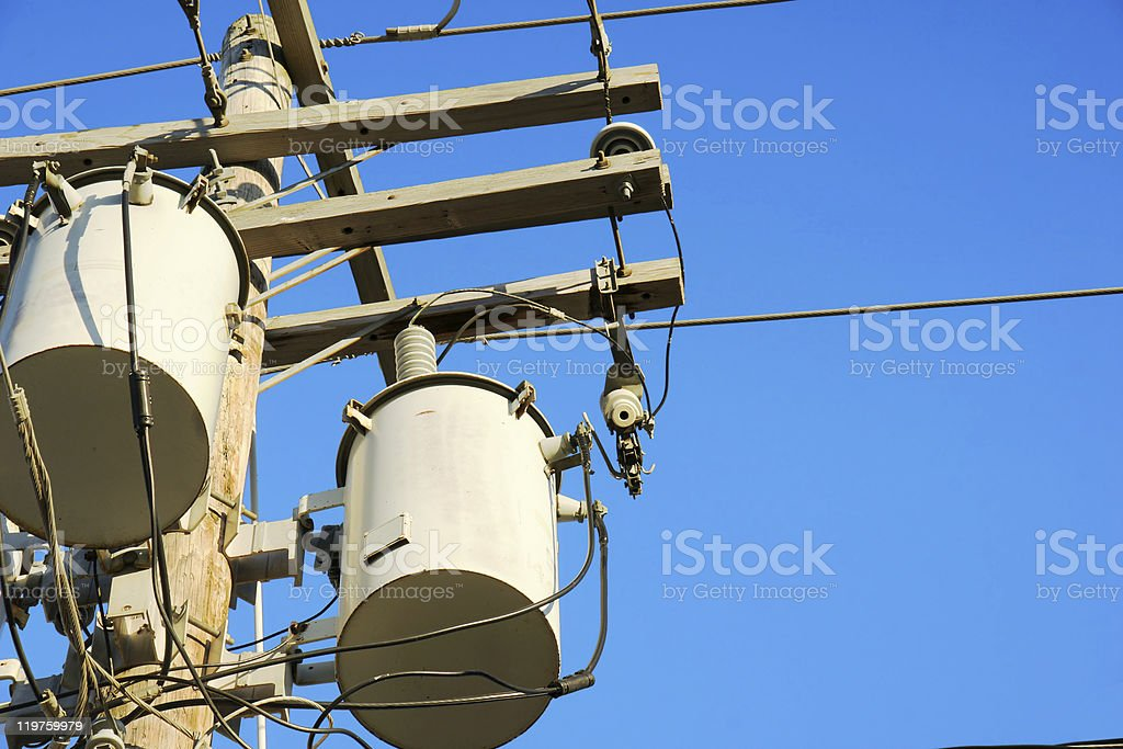 Electricity transformers and sky royalty-free stock photo