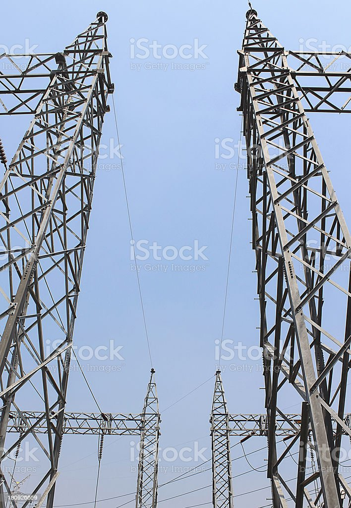 Electricity transmission yard royalty-free stock photo