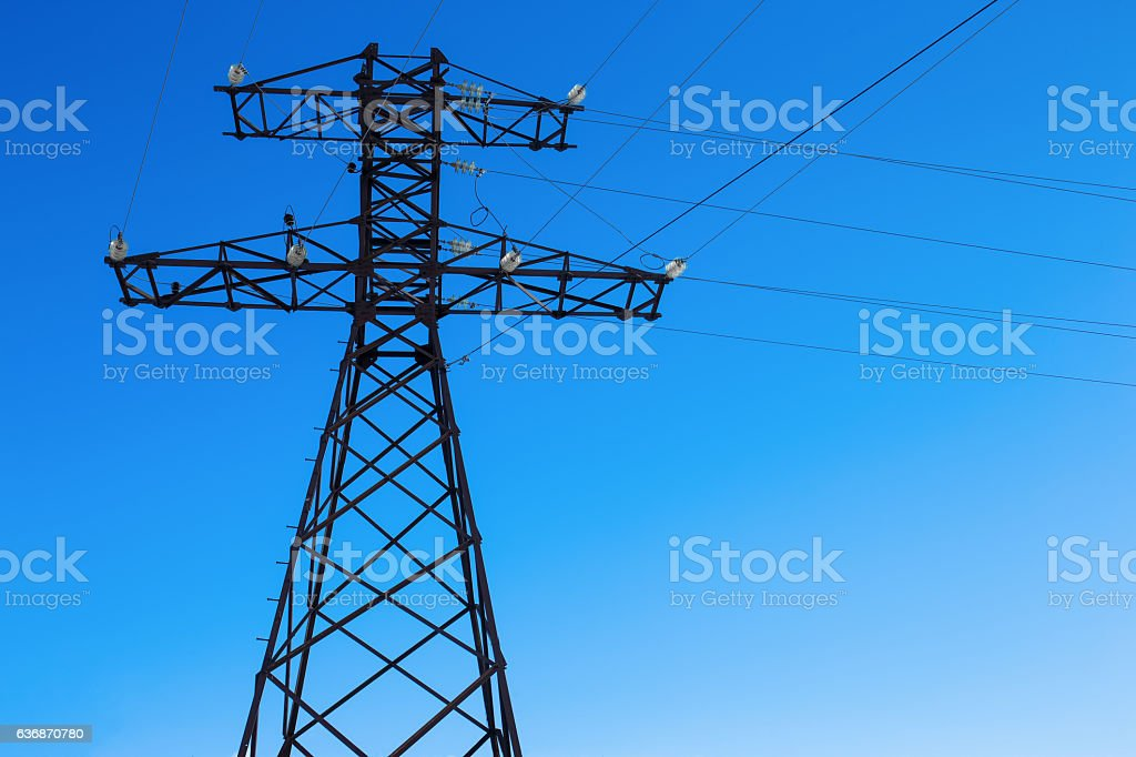 electricity wire post stock photo