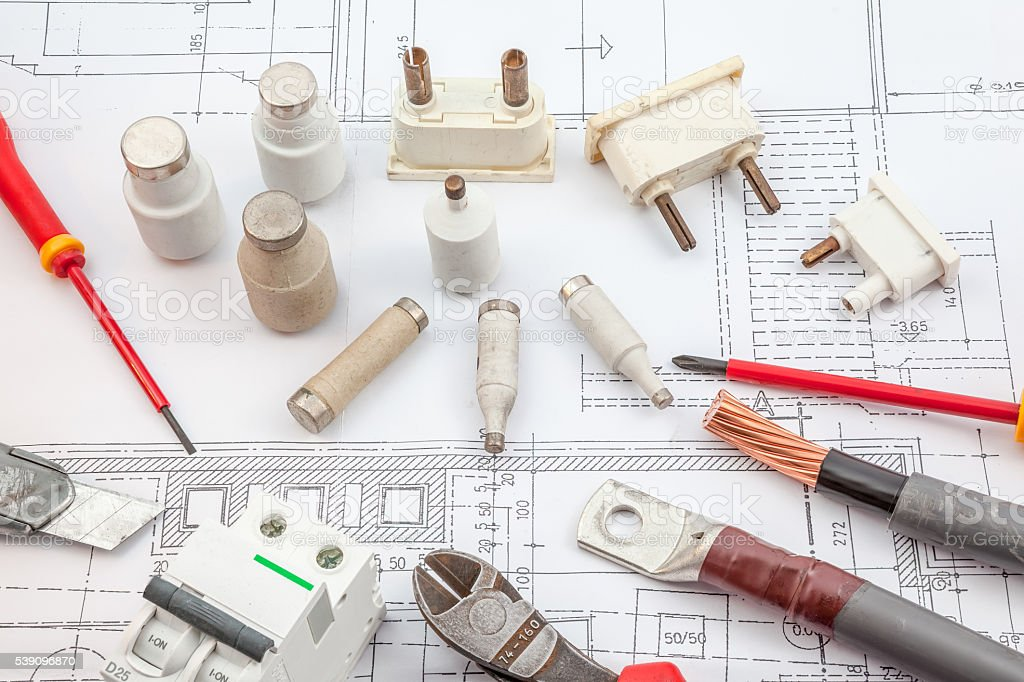 electrics, insurance, screwdrivers, copper cables stock photo