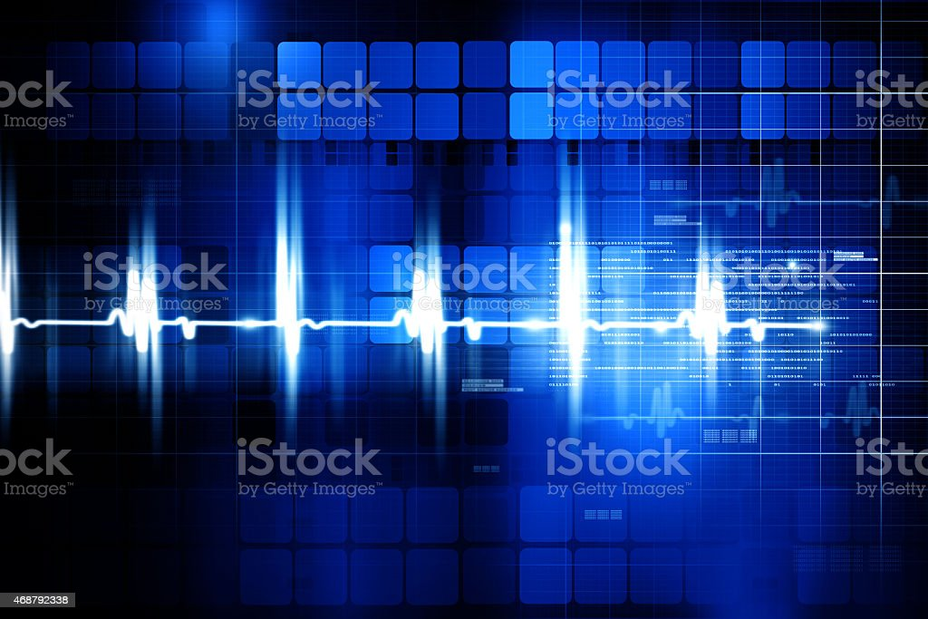 Electrocardiogram in white on blue background stock photo
