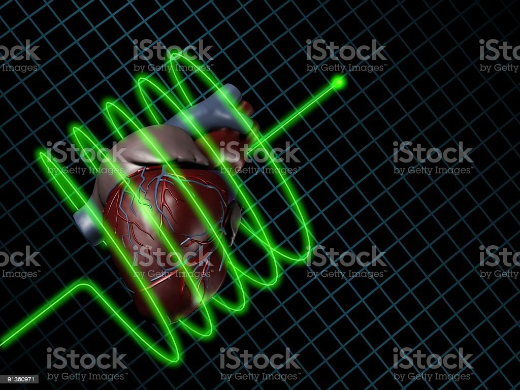 Electrocardiogram (ECG / EKG) with human heart on screen royalty-free stock photo