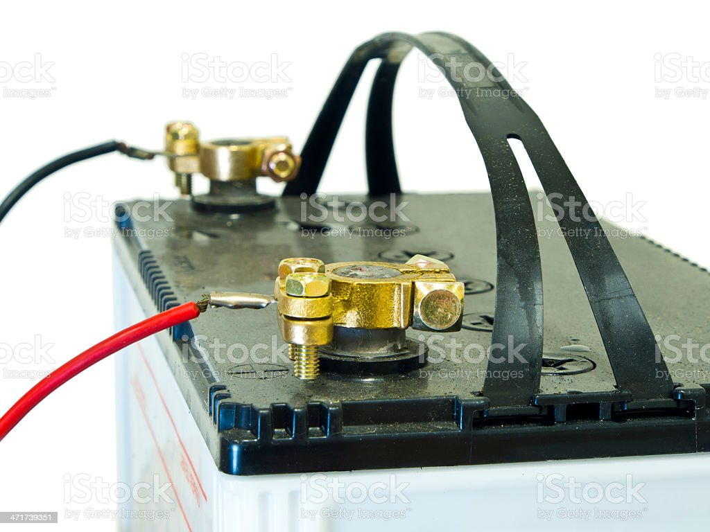 electrode of lead-acid battery stock photo