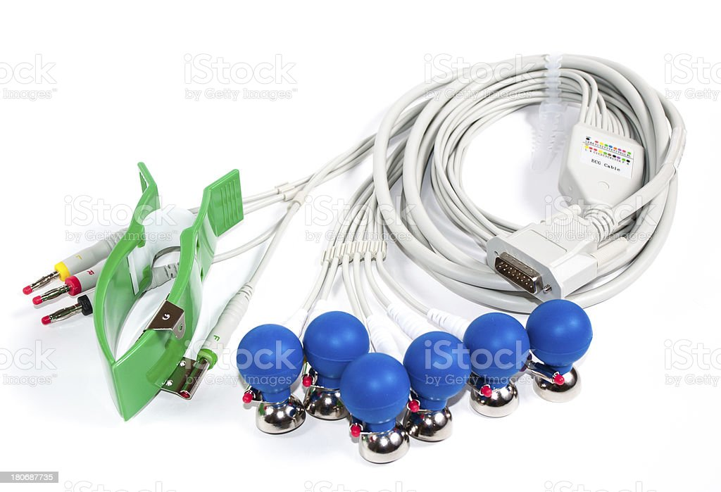 ECG Electrodes And Cable royalty-free stock photo