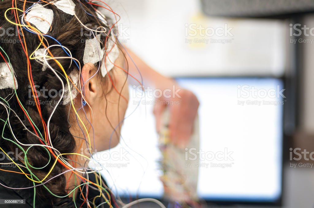 Electrodes for an EEG test stock photo