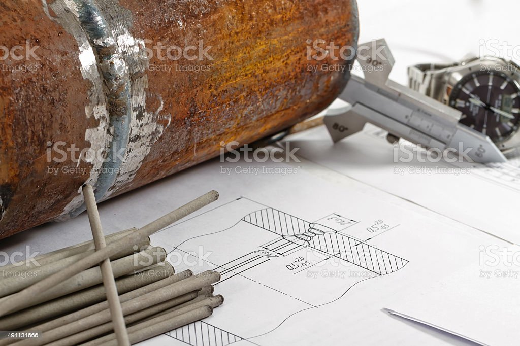 Electrodes for manual arc welding stock photo